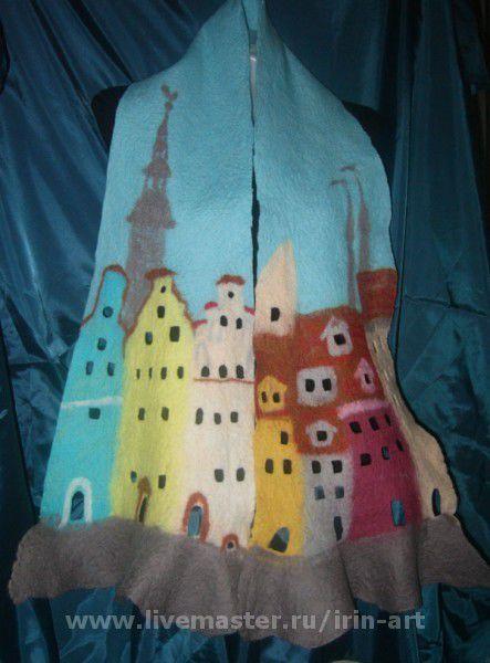 Шарфы и шарфики ручной работы. Ярмарка Мастеров - ручная работа. Купить валяный шарф Старая Рига. Handmade. Голубой, рисунок