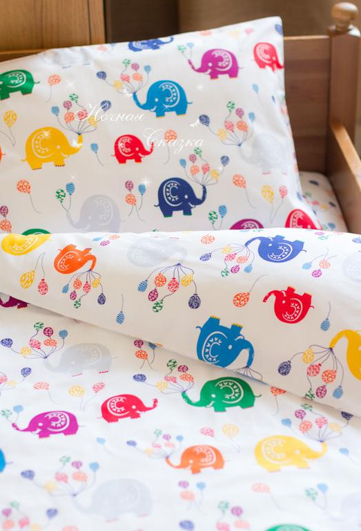 """Детская ручной работы. Ярмарка Мастеров - ручная работа. Купить Комплект в кроватку детское постельное белье """"Слоники"""". Handmade. Белый"""