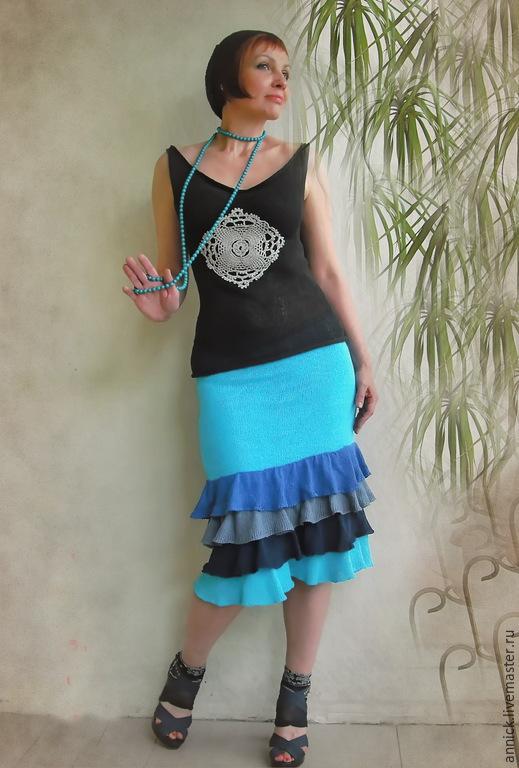 Юбки ручной работы. Ярмарка Мастеров - ручная работа. Купить Вязаная бирюзовая юбка с оборками. Handmade. Бирюзовый, юбка