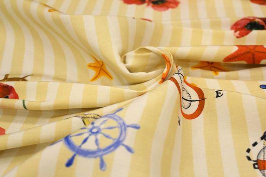 Шитье ручной работы. Ярмарка Мастеров - ручная работа. Купить Итальянский шелк D&G  в морском стиле. Handmade. Белый цвет