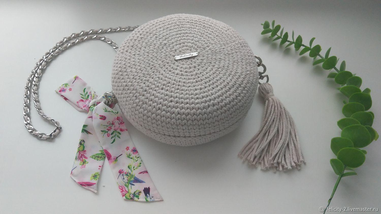 Круглая сумочка на цепочке с яркой подкладкой, Классическая сумка, Рыбинск,  Фото №1