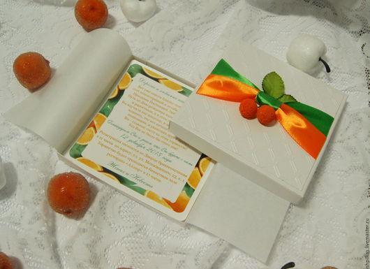 Свадебные аксессуары ручной работы. Ярмарка Мастеров - ручная работа. Купить Апельсиновые приглашения на свадьбу - 2. Handmade. Рыжий, пригласительные