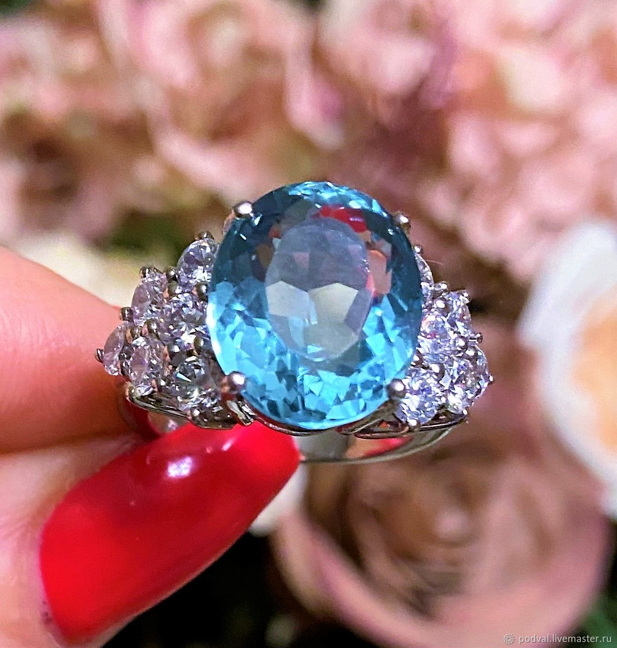 Silver ring with natural aquamarine 'Apogee' (17,75), Rings, Korolev,  Фото №1