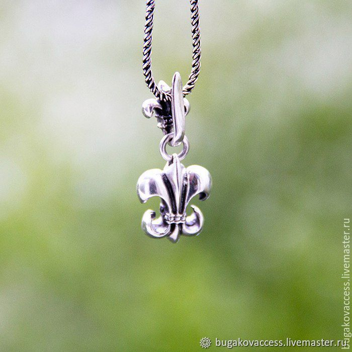 """Pendant """"Royal lily"""" from silver 925 with black, Pendants, Moscow,  Фото №1"""