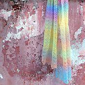 Аксессуары ручной работы. Ярмарка Мастеров - ручная работа Ажурный шарф Леденцы (мини-палантин из мериноса). Handmade.