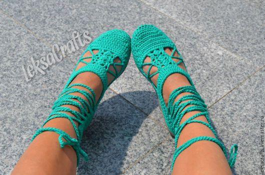 Обувь ручной работы. Ярмарка Мастеров - ручная работа. Купить Сандалии крючком в греческом стиле. Handmade. Морская волна, сандали