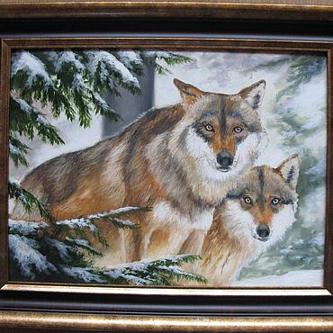 Pictures and panels handmade. Livemaster - original item Wolves. Winter. 30h40cm. Handmade.
