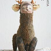 Куклы и игрушки ручной работы. Ярмарка Мастеров - ручная работа Авторская игрушка, Котолень Кнопка. Авторская кукла. Тедди кот олень. Handmade.