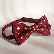 Аксессуары handmade. Livemaster - original item Tie Valor / Burgundy butterfly tie pattern, crosses. Handmade.