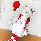 """Тильда Зверята ручной работы. Ярмарка Мастеров - ручная работа Кошка """"Приподнятое настроение"""". Handmade."""