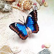 Брошь бабочка вышивка 54