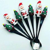 """Посуда ручной работы. Ярмарка Мастеров - ручная работа Чайные ложки """"Дед Мороз"""". Handmade."""