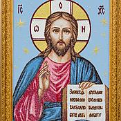 Картины и панно ручной работы. Ярмарка Мастеров - ручная работа Вышитая икона Господа Иисуса Христа. Handmade.
