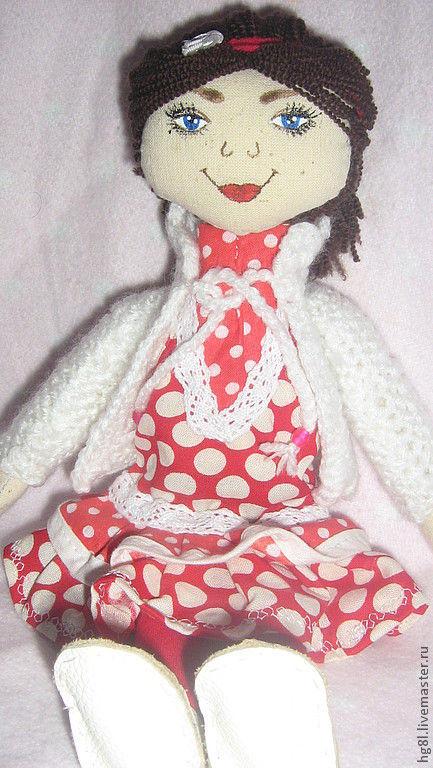 Коллекционные куклы ручной работы. Ярмарка Мастеров - ручная работа. Купить Кукла Кира. Handmade. Ярко-красный, хлопок 100%