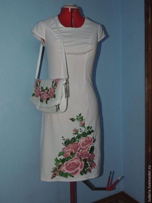 Платья ручной работы. Ярмарка Мастеров - ручная работа. Купить платье и сумочка вышитое бисером. Handmade. Белый, платье вышитое