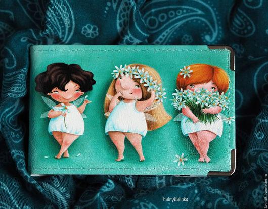 Визитница кожаная с толстушками-ромашками от Elina Ellis  Магазин волшебных феечек. FairyKalinka