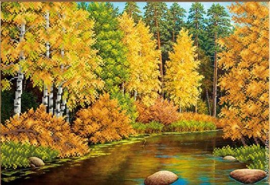 """Пейзаж ручной работы. Ярмарка Мастеров - ручная работа. Купить Картина из бисера """"Осенняя река"""" вышивка. Handmade. Желтый"""