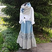 Одежда ручной работы. Ярмарка Мастеров - ручная работа №165.2 Льняная юбка+шарф. Handmade.