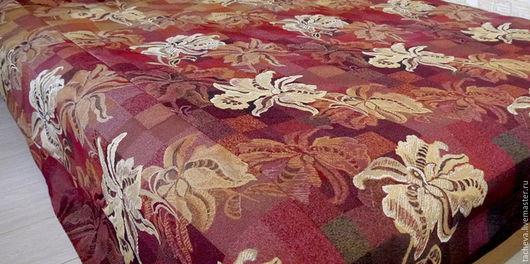 Текстиль, ковры ручной работы. Ярмарка Мастеров - ручная работа. Купить Покрывало гобеленовое-золотая орхидея. Handmade. Бордовый, шитье
