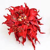 Украшения handmade. Livemaster - original item Red brooch leather Beautiful lady`s jewelry set on the jacket. Handmade.