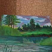 Картины и панно ручной работы. Ярмарка Мастеров - ручная работа Вечер на реке. Handmade.