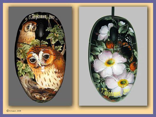Компьютерные ручной работы. Ярмарка Мастеров - ручная работа. Купить Расписные мышки. Handmade. Компьютерная мышка, роспись птиц и бабочек