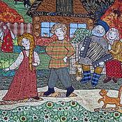 """Картины и панно ручной работы. Ярмарка Мастеров - ручная работа панно """"У завалинки"""". Handmade."""