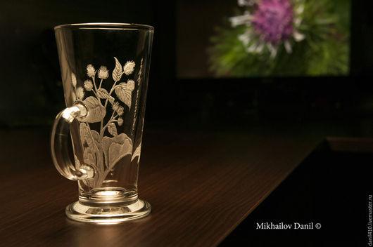 кружка подарок другу репейник гравировка стекла