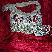 """Сумки и аксессуары ручной работы. Ярмарка Мастеров - ручная работа вышитая сумка + очечник  """"Полевые цветы""""авторская ручная работа. Handmade."""