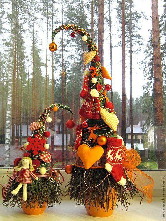 """Новый год 2017 ручной работы. Ярмарка Мастеров - ручная работа. Купить Комплект """"Уютный"""" из двух ёлочек. Handmade. Новогодняя елка"""