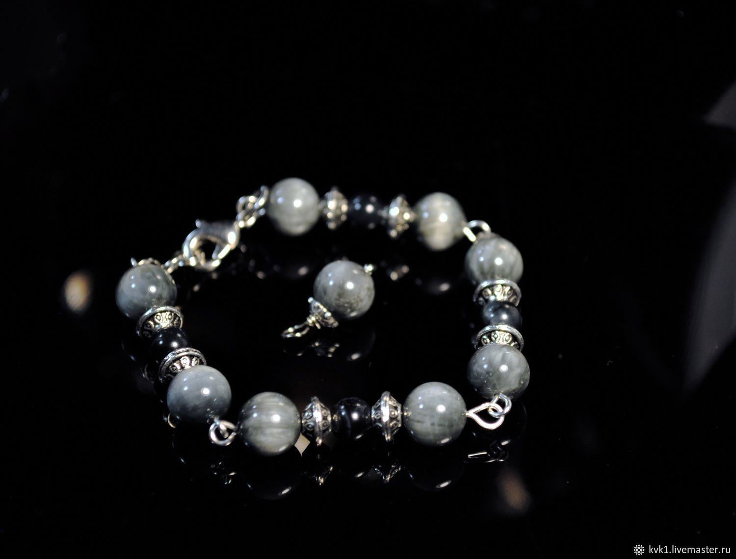 Air bracelet made of cat's and hawk's eye, Bead bracelet, Moscow,  Фото №1