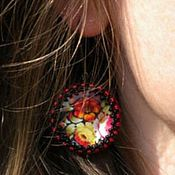 Украшения handmade. Livemaster - original item Earrings black Zhostovo painting-2 colors on a genuine mother-of-pearl. Handmade.