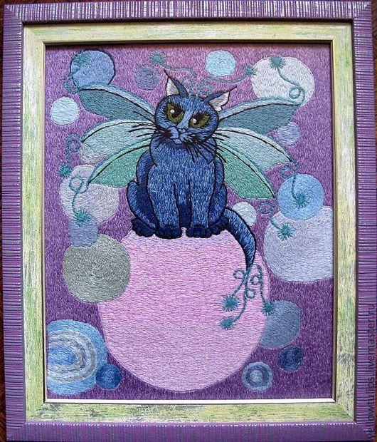 """Детская ручной работы. Ярмарка Мастеров - ручная работа. Купить Картина """"Волшебный кот-бабочка Блю-Маринчик"""". Handmade. фиолетовый"""