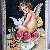 Открытки ручной работы. Ярмарка Мастеров - ручная работа Открытка Валентинка с ангелом. Handmade.