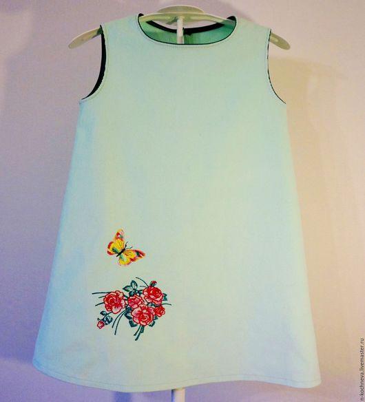 Одежда для девочек, ручной работы. Ярмарка Мастеров - ручная работа. Купить Детское платье сарафан с бабочкой. Handmade. Мятный