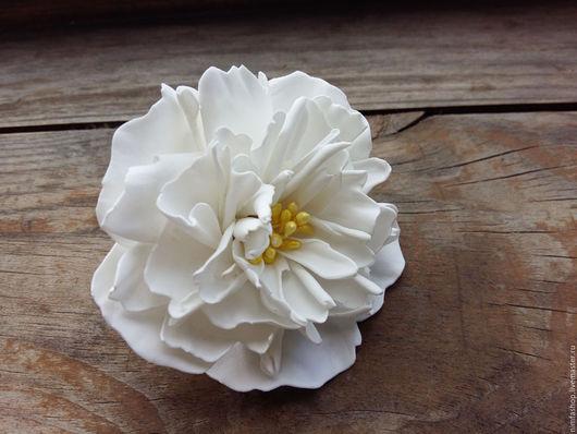 Заколки ручной работы. Ярмарка Мастеров - ручная работа. Купить Резинка пион. Handmade. Белый, белоснежный, цветы в волосы, резинка