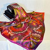 Аксессуары handmade. Livemaster - original item Silk scarf batik Purple. Handmade.