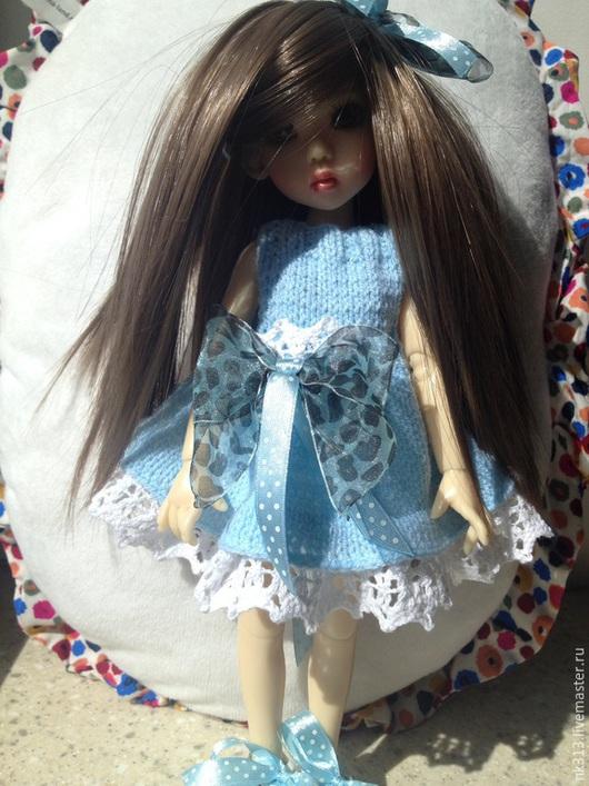"""Одежда для кукол ручной работы. Ярмарка Мастеров - ручная работа. Купить Платье """"Голубое с бантом"""". Одежда для кукол.. Handmade. Голубой"""