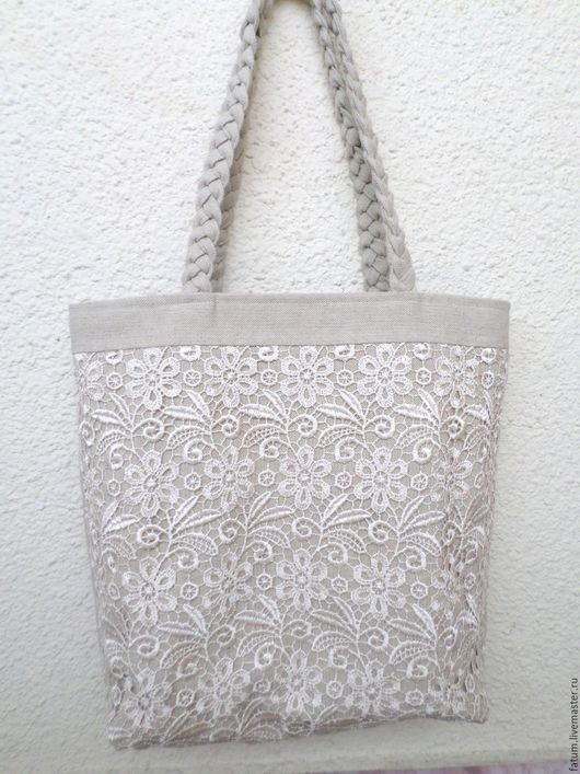 Женские сумки ручной работы. Ярмарка Мастеров - ручная работа. Купить Сумка тоте из льна и кружева Нежность. Handmade. Белый