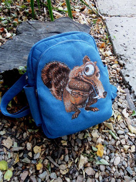 Рюкзаки ручной работы. Ярмарка Мастеров - ручная работа. Купить Рюкзак школьный Белка. Handmade. Тёмно-синий, рюкзак городской