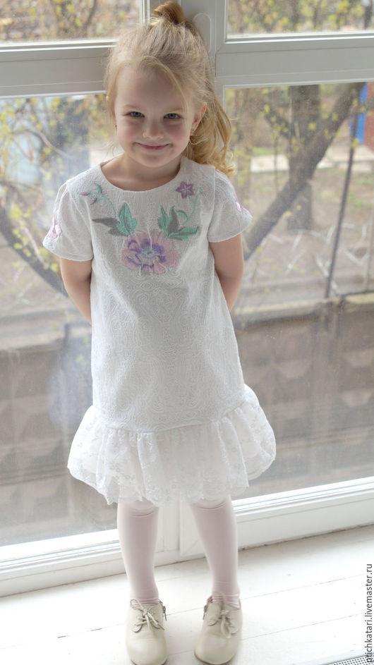 Одежда для девочек, ручной работы. Ярмарка Мастеров - ручная работа. Купить Платье Цветочная нежность. Handmade. Белый, цветы
