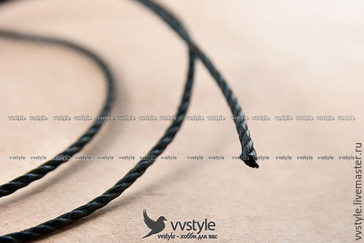 Для украшений ручной работы. Ярмарка Мастеров - ручная работа. Купить Шнур Высшего качества Вощеный хлопковый чёрный Витой,  1,5 мм. (jc1). Handmade.