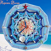 Для дома и интерьера handmade. Livemaster - original item wall clock in the nursery of the sea mandala sea star blue. Handmade.
