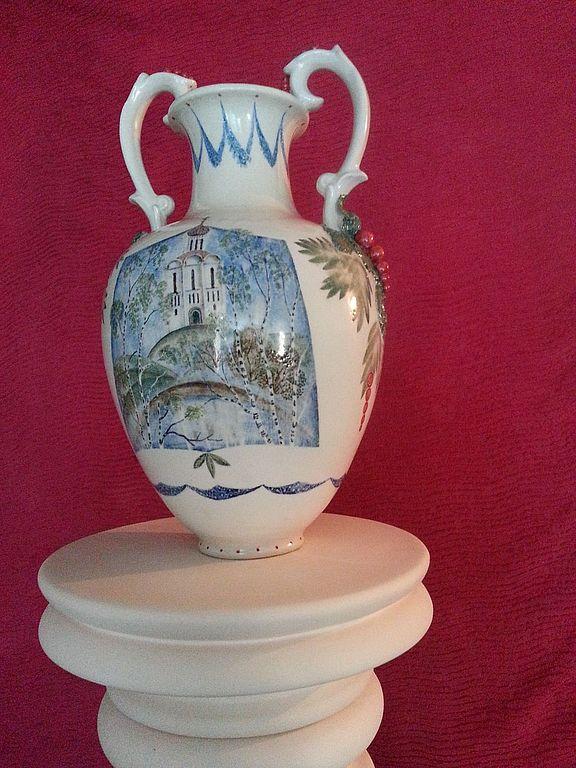 фарофоровая ваза с росписью