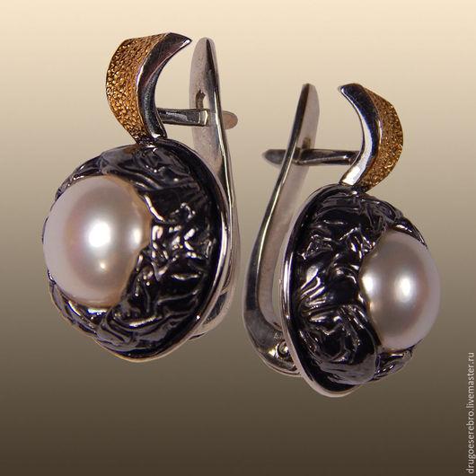 Серебряные серьги с белым жемчугом Авторские украшения Илья Максимов