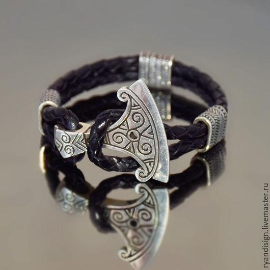 кожаный Браслет Секира Перуна серебро, подарок мужчине на день рождения