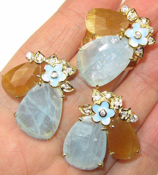 Кольца ручной работы. Ярмарка Мастеров - ручная работа. Купить Серьги и кольцо с аквамарином, солнечным камнем серебряные. Handmade. Голубой