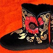 Обувь ручной работы. Ярмарка Мастеров - ручная работа Угги золотой узор. Handmade.