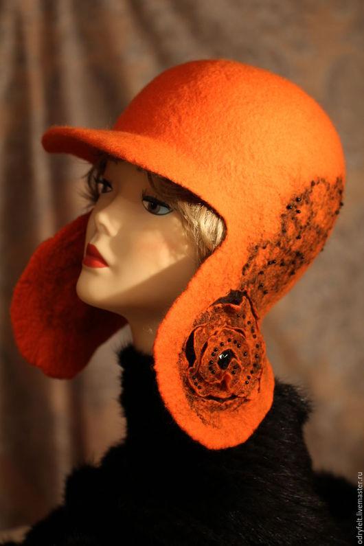 """Шапки ручной работы. Ярмарка Мастеров - ручная работа. Купить Шляпка """"Оранжевое чудо"""". Handmade. Рыжий, шапка женская"""