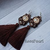 Украшения handmade. Livemaster - original item Soutache earrings brush